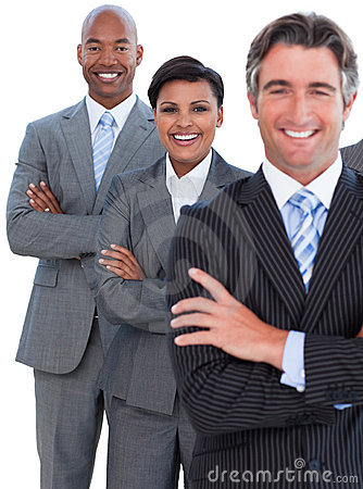 Portrait of enthusiastic business team