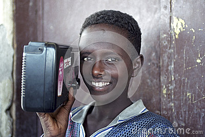 Portrait of Ethiopian boy with radio, Ethiopia Editorial Photo