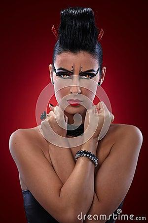 Portrait of evil woman
