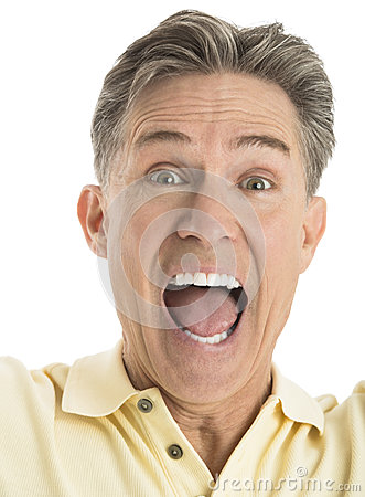 Portrait Of Excited Mature Man Screaming