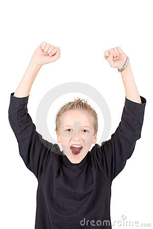 Portrait of an excited young boy