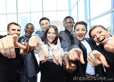 Portrait of excited young business people