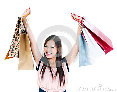 Happy Young Woman Shopper