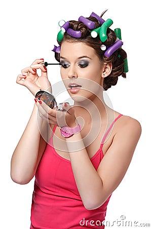 Portrait of an eyelashes painter girl