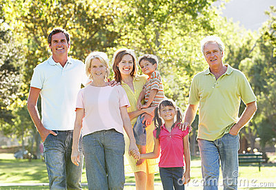 Portrait Of Family Enjoying Walk In