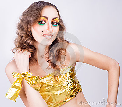 Portrait of fashion smiling woman model with beauty bright make-