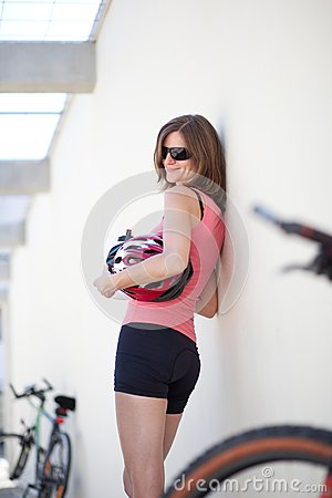 Portrait of a  female biker