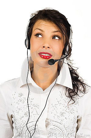 Portrait of female call centre wearing headset