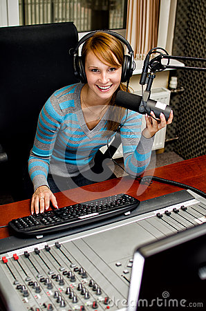 Portrait of female dj working
