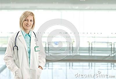Portrait of female doctor on hospital corridor