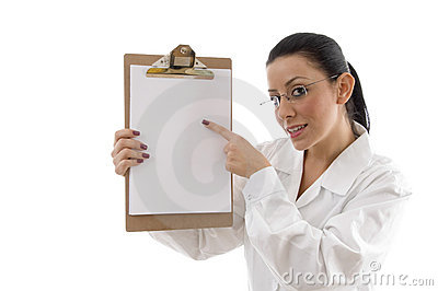 Portrait of female doctor pointing writing pad