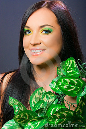 portrait of female model, beauty woman and flowers