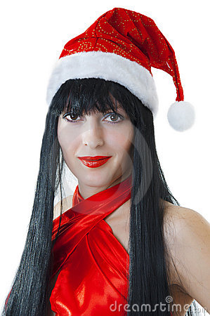 Portrait of female model in red santas cap