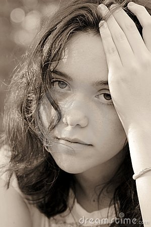 Portrait of female teenager sad