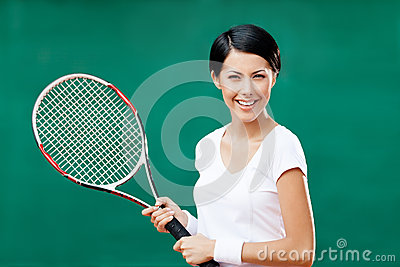 Portrait of female tennis player
