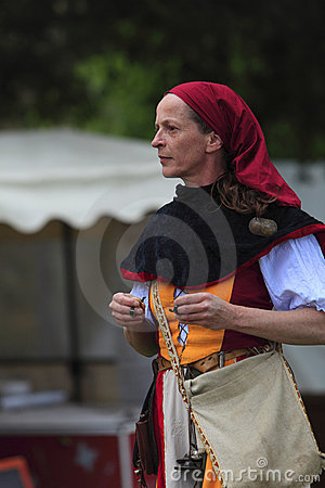 Portrait of a female troubadour on stilts Editorial Photography