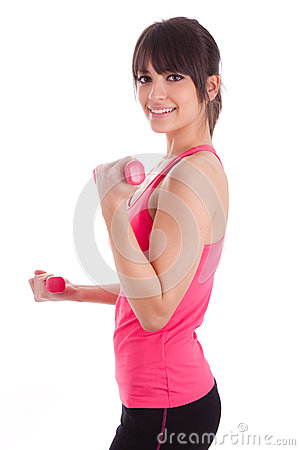 Portrait of a fitness woman working out with free weights