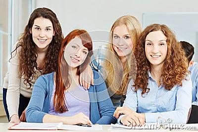Four female teenager in school