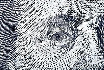 Portrait fragment of Benjamin Franklin