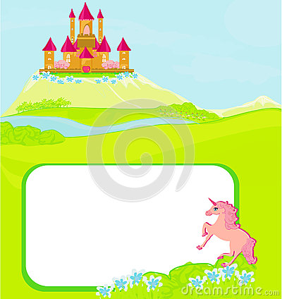 Portrait frame with fairy tale castle