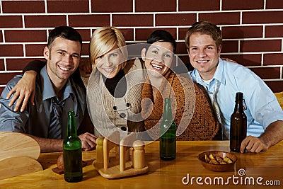 Portrait of friends in pub