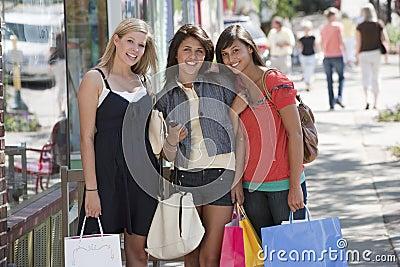 Portrait of friends shopping