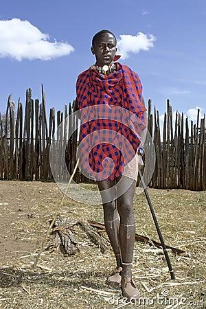 Portrait Full Length Red Carpet Of Maasai Teen Editorial
