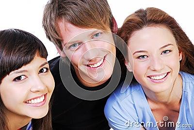 Portrait of  fun three students
