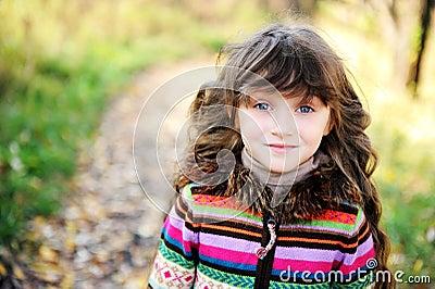 Portrait of funky little child girl