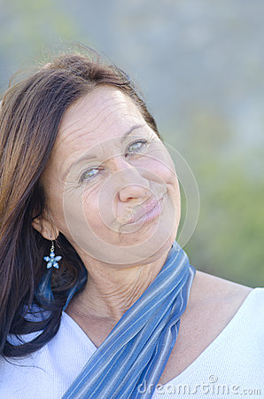 Portrait Funny mature woman park outdoor