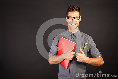 Portrait of funny nerd man
