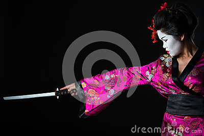 Portrait of geisha warrior with sword