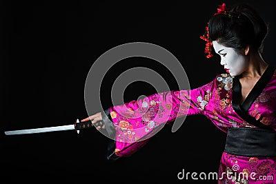 Portrait of geisha warrior with sword