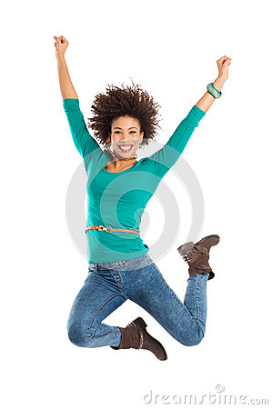 Woman Jumping In Joy