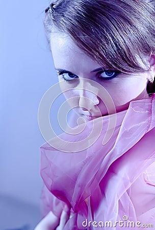 Portrait of girl in blue tones