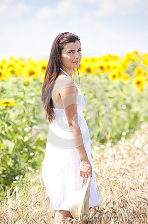 Portrait of a girl in cropland