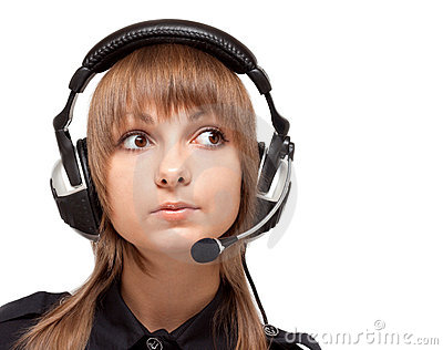 Portrait of the girl in earphone with mike