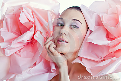 Portrait of girl. Emotions. Tenderness. Dreaming.Flowers