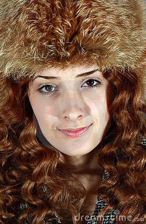 Portrait of girl in fox cap