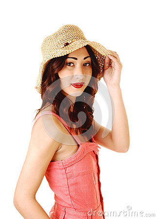Portrait of girl with hat.