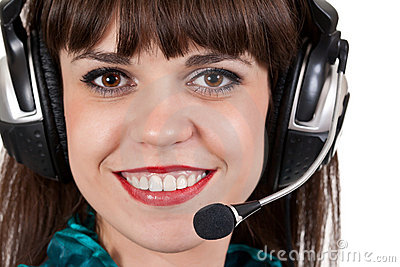 Portrait of girl with headphones with microphone