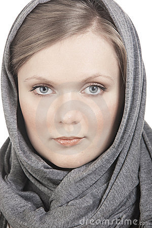 Portrait of girl in headscarf
