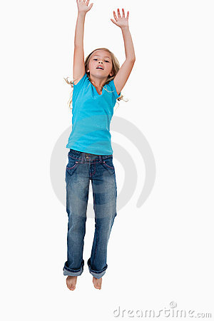 Portrait of a girl jumping