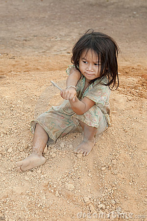 Portrait girl of Laos in poverty