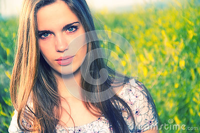 Portrait of girl in meadow