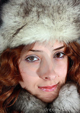 Portrait of girl in polar fox cap