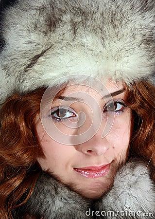 Portrait of girl in polar fox cap