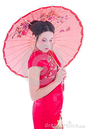 Portrait of girl in red japanese dress with umbrella isolated on