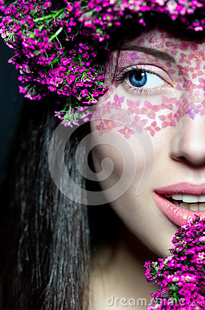 Portrait girl s half face with stylish make-up