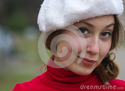 Portrait girl smiling beret